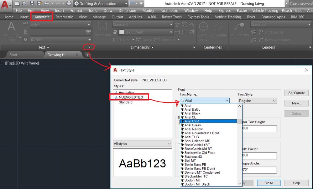 Como instalar nuevos tipos de letras en Autocad